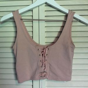 Topshop Pink Lace Up Crop Top